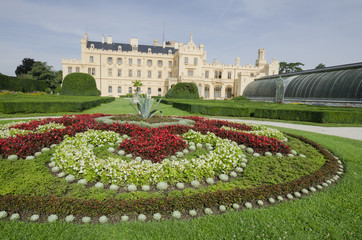 Lednice chateau with french style garden