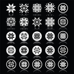 Pixelated snowflakes, Christmas white icons on black