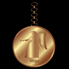 Bronze Charm for Virgo Over a Black Background