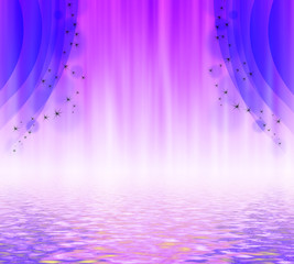 Illustration of a purple curtain with stars reflected in water.