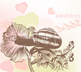 Wedding back with snail and flowers