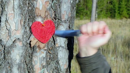 Hand with knife near fabric heart on the tree in forest