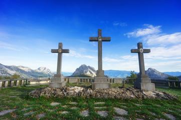 Crosses in Urkiola balcony surrounding by mountains