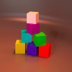 Abstract colorful 3D geometric shapes.
