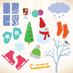 Vector collection symbols of winter