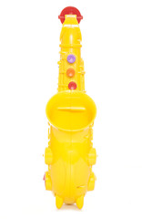 yellow plastic childs saxophone toy