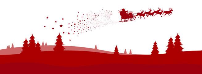 Vektor Weihnachskarte Panorama Weihnachtsmann