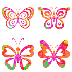 Set butterflies with pattern
