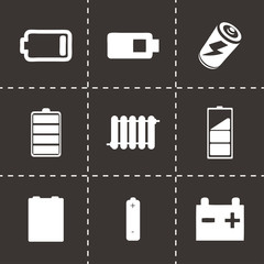 Vector black batery icons set