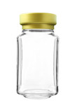 Empty Gold Cap Glass Bottle isolated on white background