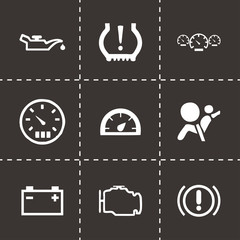 Vector black car dashboard icons set