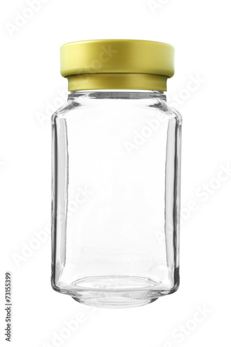 Empty Gold Cap Glass Bottle isolated on white background - 73155399