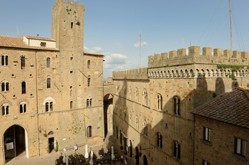 frontal view of Palazzo Vescovile-Volterra, Tuscany-Italy