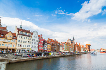 Cityscape on the Vistula River in Gdansk, Poland.