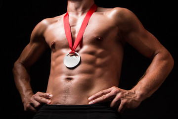 Sportsman with medal on his chest