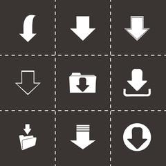 Vector black download icons set