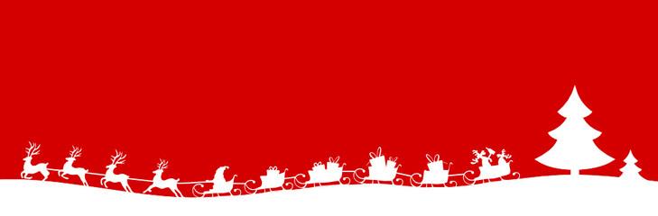 Weihnachten Silhouette langer Schlittem
