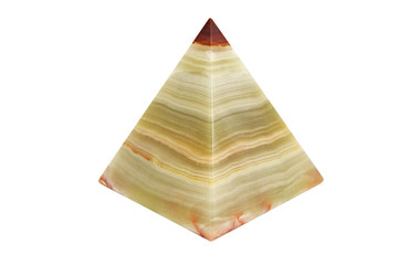 souvenir onyx pyramid on an isolated background