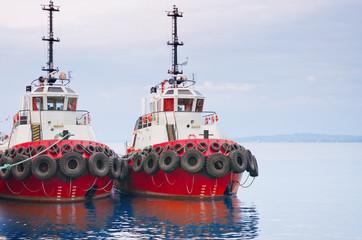 red tugboats