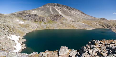 Panoramic photo of Besseggen Ridge in Jotunheimen National Park,