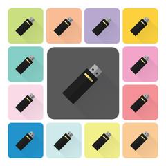 Flash drive Icon color set vector illustration