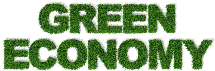 Green Economy erba economia verde, parola isolata sfondo bianco