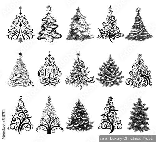 Set of Luxury Christmas Trees. - 73157911