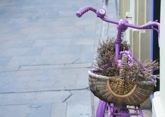 Lavander basket on bicycle
