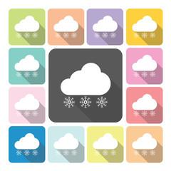 Snowing Icon color set vector illustration