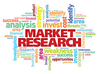 Market research concept vector word cloud background