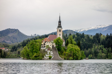 The church in Bled, Slovenia
