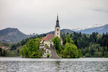 The church in Bled, Slovenia