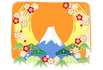 mt.fuji postcard 富士山 年賀状