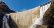Leinwanddruck Bild - Dam of Contra Verzasca, spectacular waterfalls