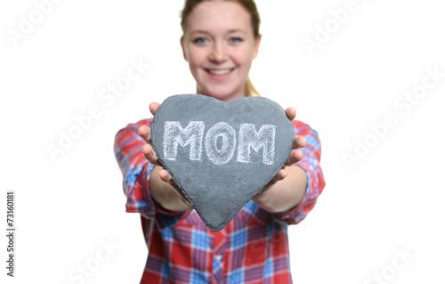 canvas print picture Frau hält ein Herz zum Muttertag
