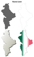 Nuevo Leon blank outline map set