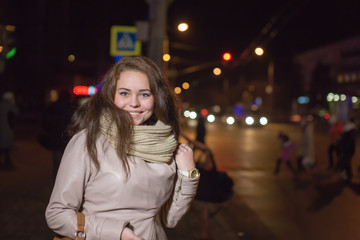 Portrait of the girl in the street night city