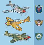 Vintage war fighter planes set 1