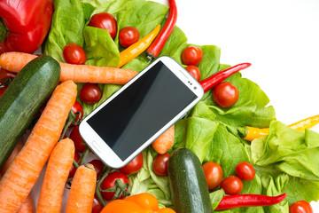 Gemüse und Smartphone