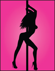 Shilouette Pole Dancer Over a Pink Background