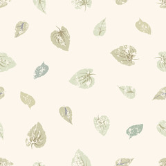 grungy leaves seamless pattern