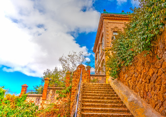 old building in the famous park Guell at Barcelona in Spain
