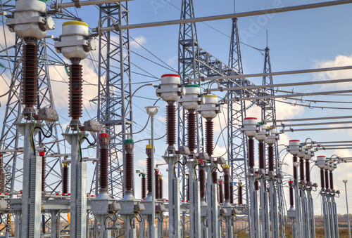 High voltage switchyard in electrical substation - 73161515
