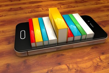 smartphone with books isolated on white. E-book library concept