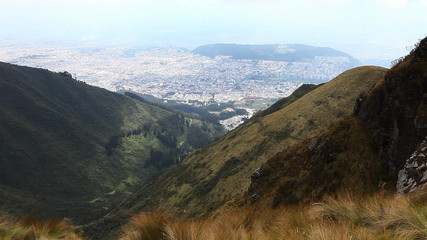 Looking down onto the city of Quito, Ecuador