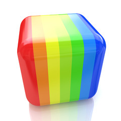 Multicolored cube with stripes