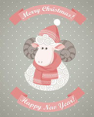 Greeting cards with cute sheep
