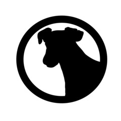 Dog Silhouette in a Thick Circle