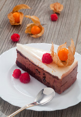 chocolate cake with roaspberry and exotic fruits