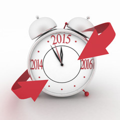 2015 year on alarm clock with red arrows. 3d icon on white